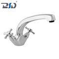 Dual Lever Cross Handle Deck Mono Sink Mixer Chrome Plated Brass Kitchen Faucet For Bathroom