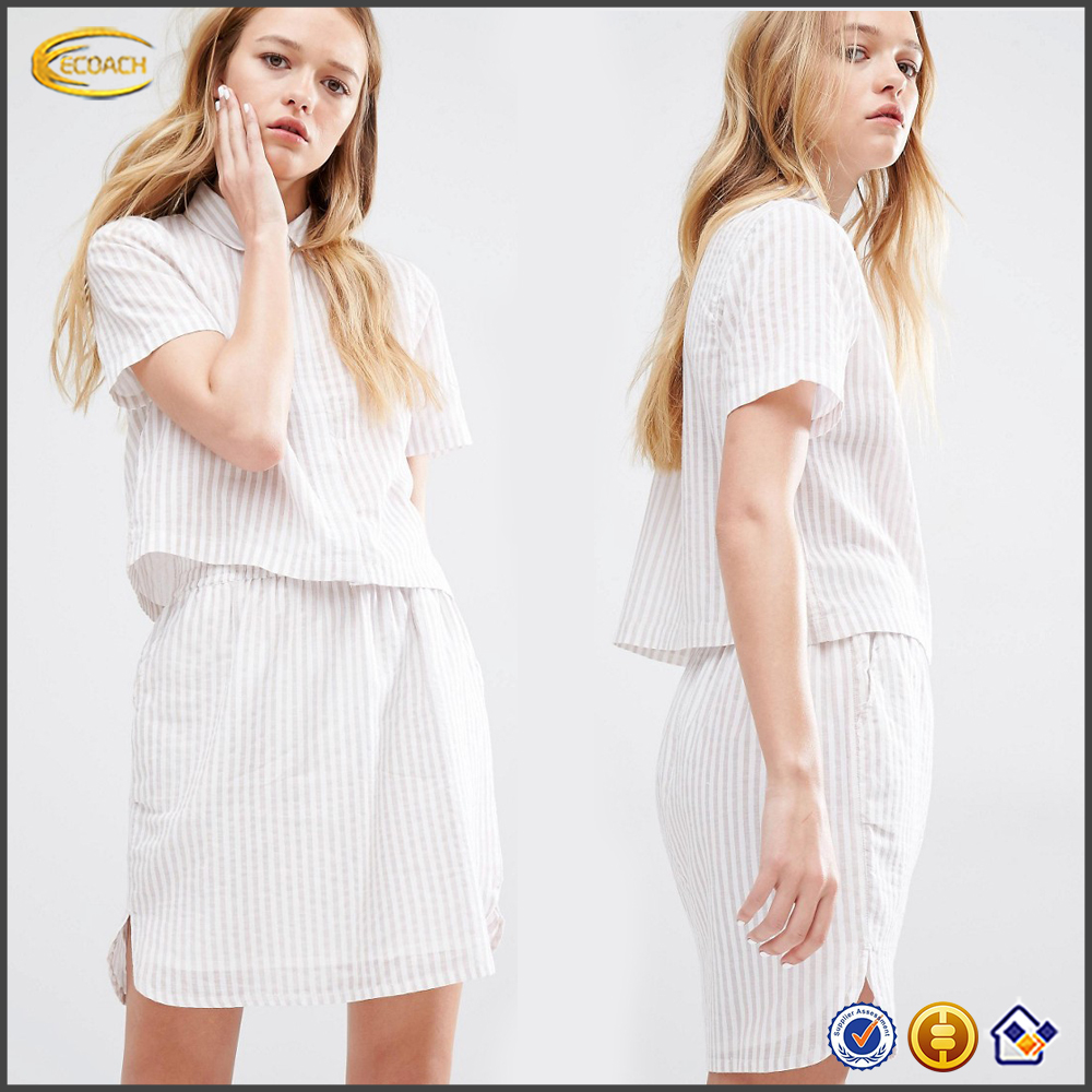 Ecoach Semi-sheer Native Youth ladies Boxy Striped Shirt 2016 Concealed button placket design casual short sleeves sweat suit