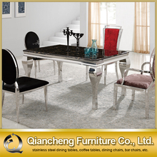 Marble top stainless steel frame dining table