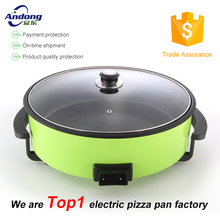 Aluminum non- stick design round electric pizza pan with glass lid