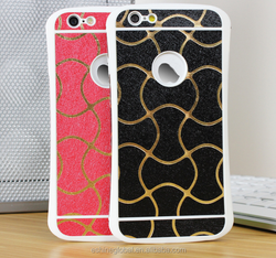 New Design Big Wave Strip Streak Mobile Phone Paste leather pu Case for Iphone5/5s 6