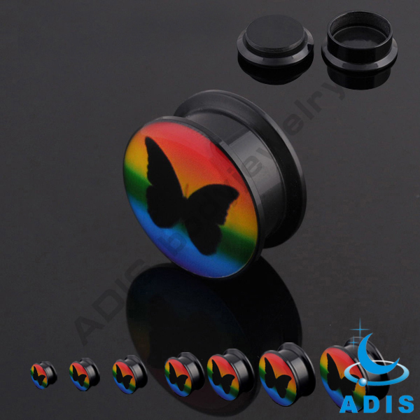 Free sample acrylic new logo screw fit ear tunnel plugs wholesale