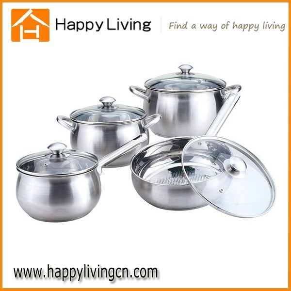 stainless steel metal cooking pot ,casserole set with handle and lid