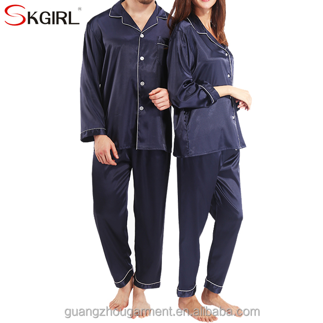 wholesale guangzhou cheap summer long sleeve blend 100% silk satin nightwear sleepwear pajama sets for man and woman