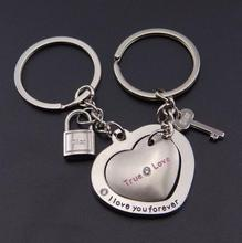 cheap couple metal keychains and heart shaped key chains(HH-key chain-1513)