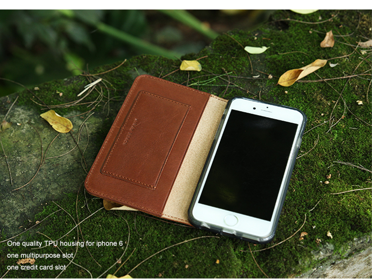 Italian Leather folio Phone Wallet cases for iphone 6S brown