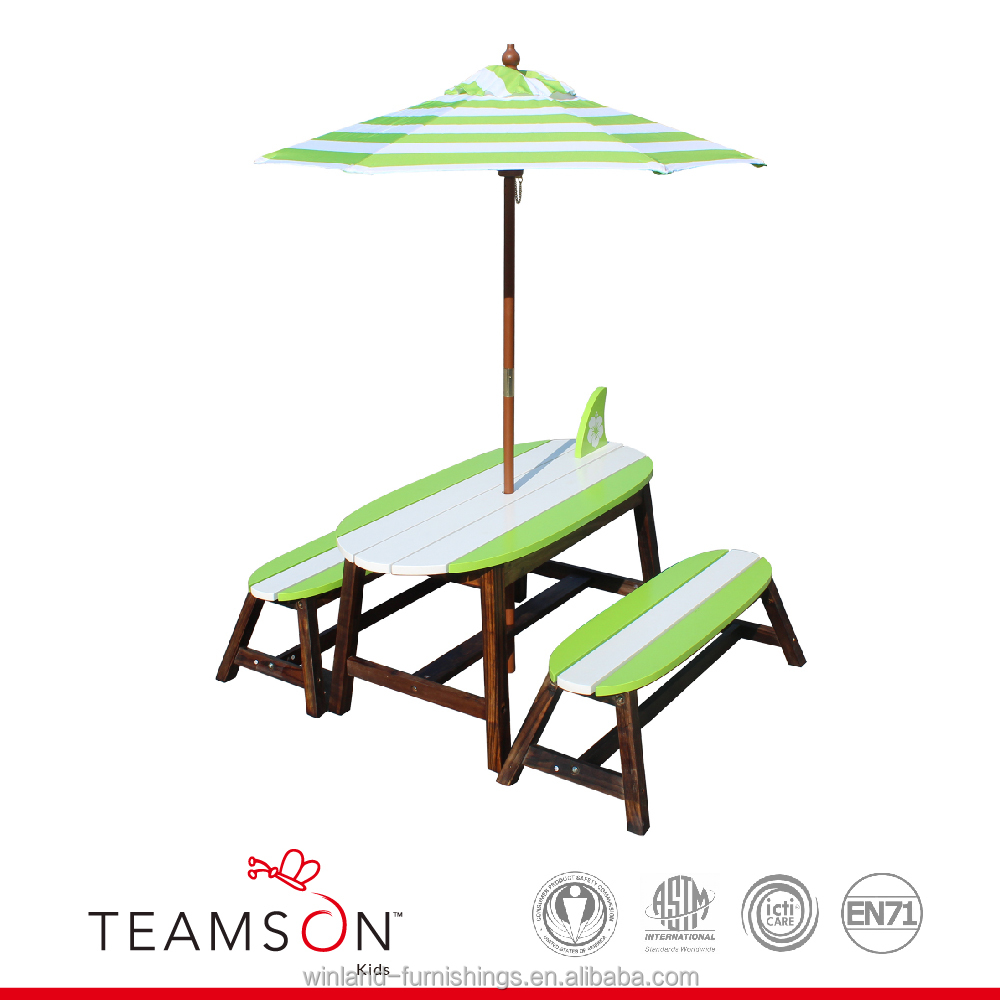Teamson Kids - Kids Surfboard Outdoor Table and Bench Set with Umbrella - Grass Green/ White