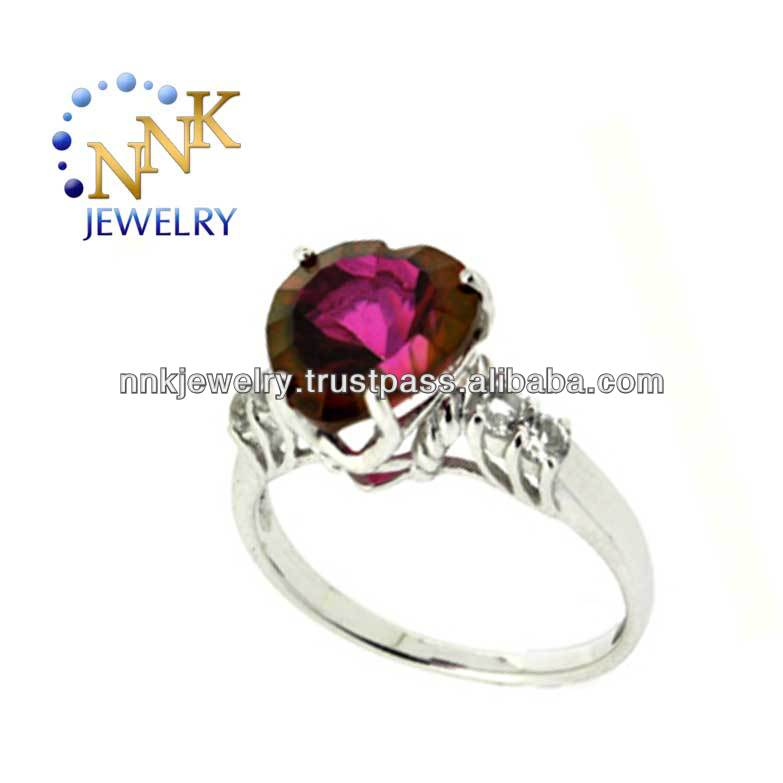 Mystic Topaz Sterling Silver Engagement Ring