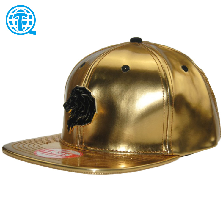 2017 fashion metal plate snapback caps <strong>hats</strong>/ sticker customize/ golden leather 6 panel strap back caps k products caps