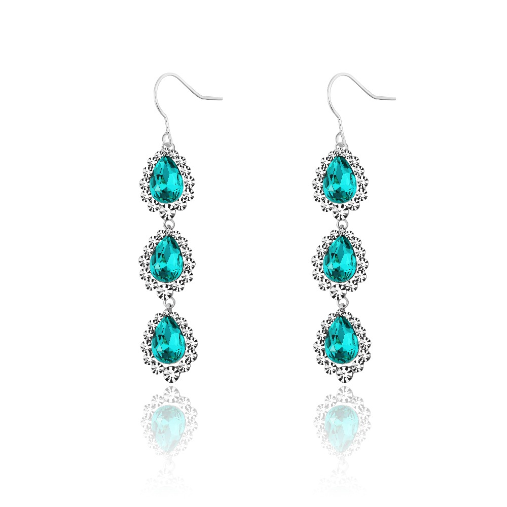 neoglory jewelry rhodium crystal drop dangle long earring set