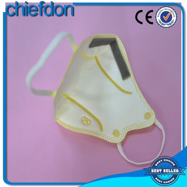 non woven disposable yellow ffp3 n99 dust mask with nose clip