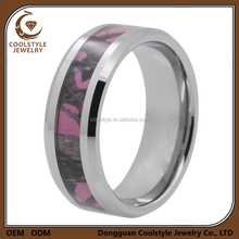 8MM Men's Hunting Camouflage Pink Camo inlay Tungsten Wedding Band Ring