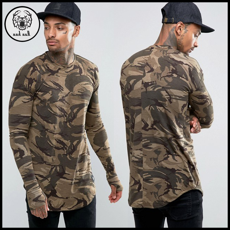 New model men camo long line t shirt with thumb hole and rounded hem