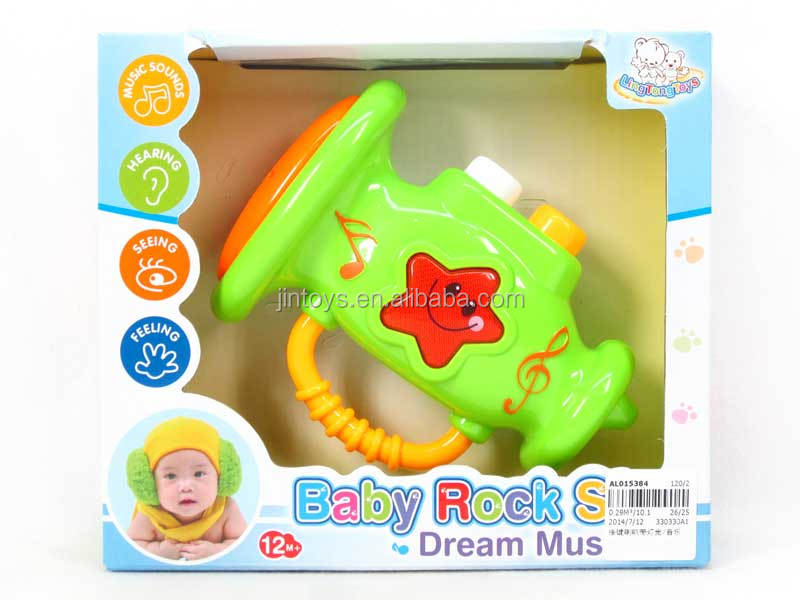 New Product Plastic Cartoon Electric Kid Toy Keystroke Bugle With Light and Music