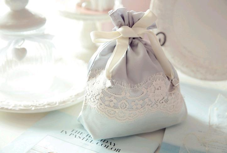 Fancy Lace Handmade Satin Sweet Drawstring Pouch For Girls