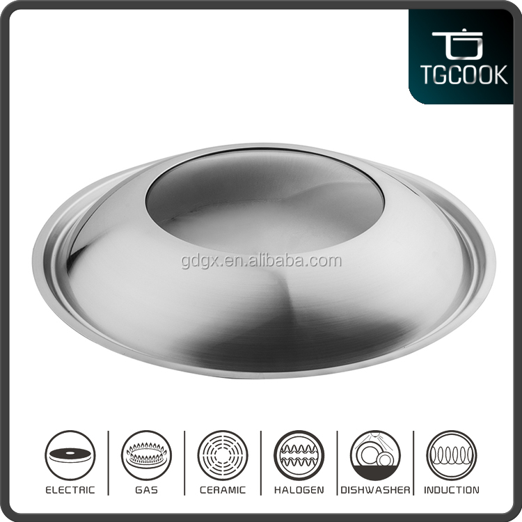 18-40cm A type dome shape stainless steel compound glass lid, cooking pot lid, cookware parts