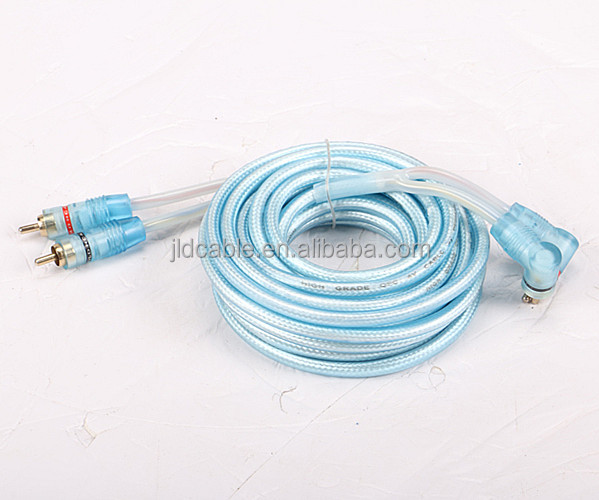 Made in JLD audio with blue jacket and 8Ga speaker cable male to male gold connectot RCA power cable