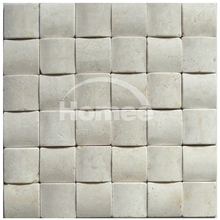 48X48MM 3D Small Bread Chips Square Mosaic Cheap Italian Cream Beige Flooring Marble Tile