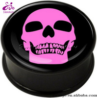 Acrylic unique Pink Skull Ear Plug tragus Piercing jewelry for sale