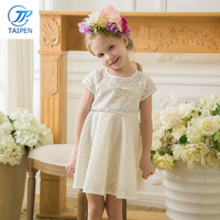 Tinta Roriz New Summer Short Sleeve Children Lace Dress Girls Princess Dress with Bow