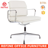 ea208 genuine italian cow leather white metal executive office chair side chair no wheels RF-S065G