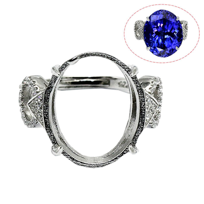 Beadsnice ID30636 couples 925 silver ring setting adjustable US ring size 7 to 9 16.8x14.5x2.5mm sold by PC pad ring base