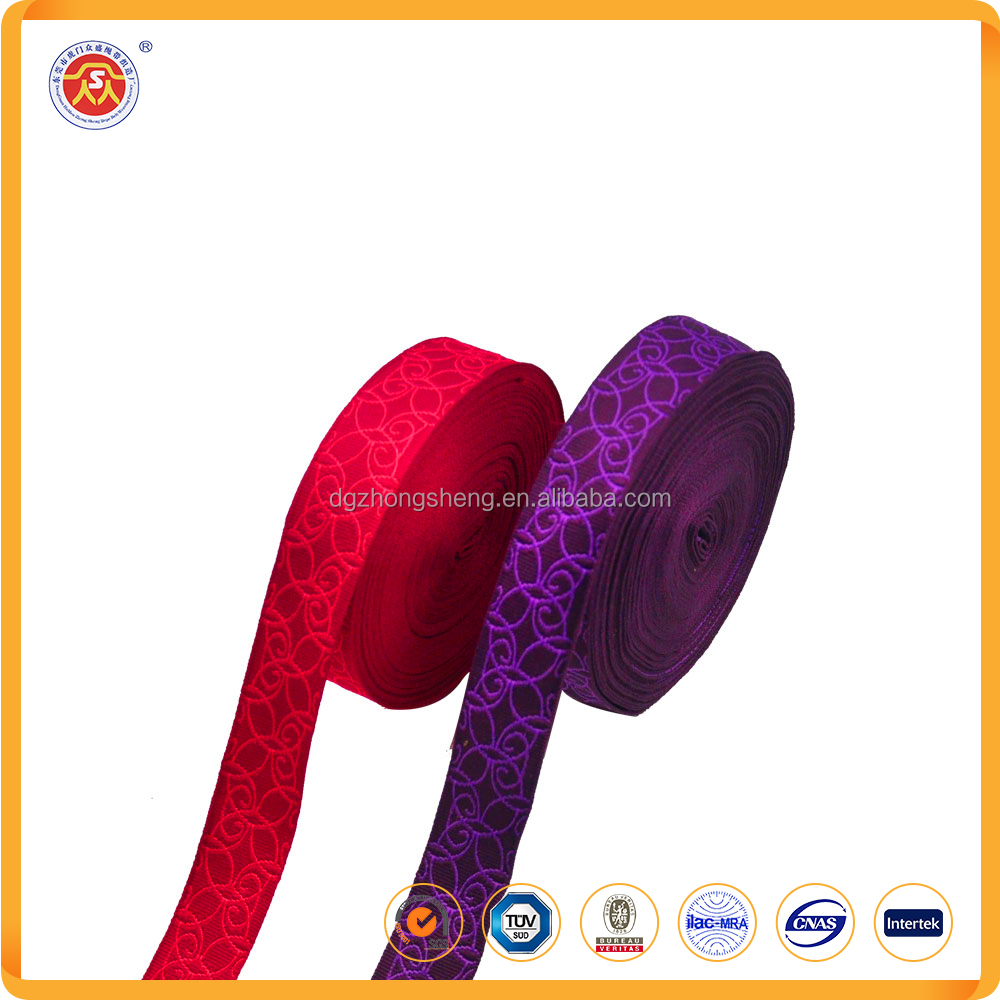 High quality home textile plain woven herringbone Spandex jacquard ribbon with custom logo