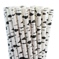 25CT Black Birch Bark 7.76'' Eco-Friendly Biodegradable Party Paper Straws 31P34