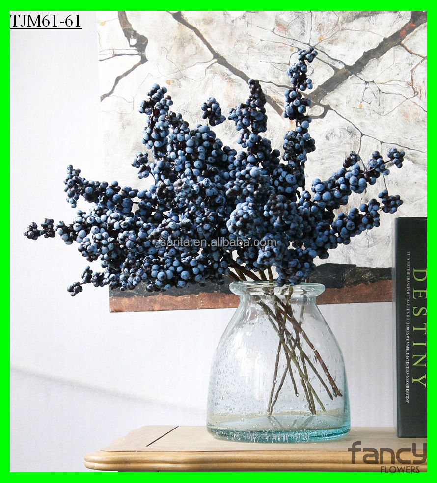 factory wholesale 4-branch wholesale juniper berries artificial christmas berry picks