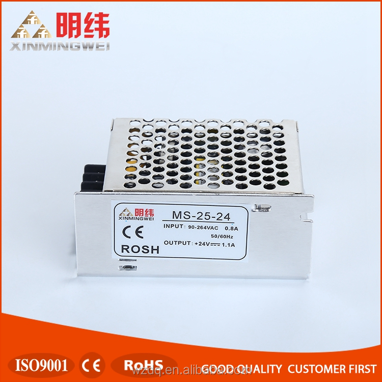 MS-25-24 Mini size 24v 1a 25w led driver constant voltage power supply,single output switching power supply 24V with CE,ROHS