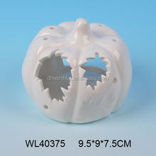 White porcelain craft ceramic pumpkin wholesale with led / tealight