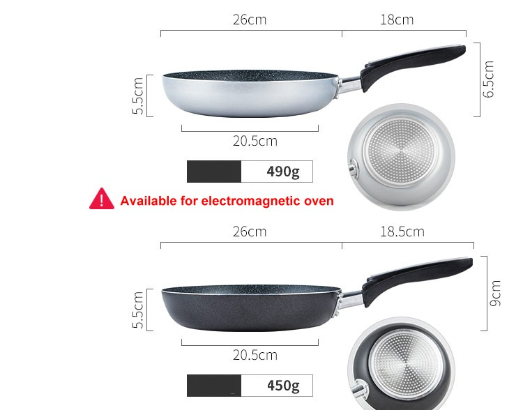 Hot Sale 26cm Non-stick Skillet Induction Multy Color Frying Pan Cookware