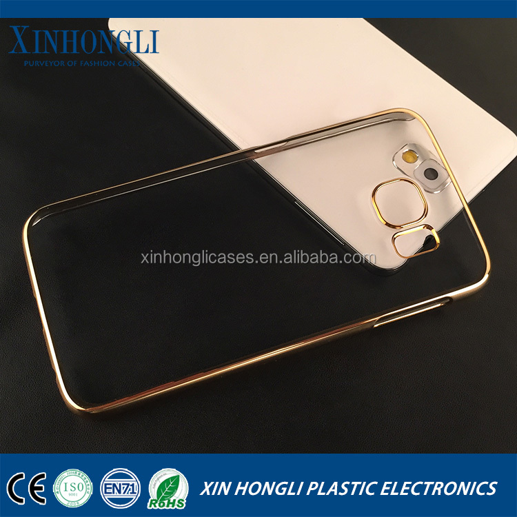 plating laser carving transparent protective cover for Samsung S6 mobile phone plating blank phone case for samsung galaxy s6