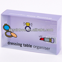 colorful transparent PVC packaging box for dressing table organiser