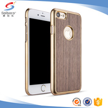 Customized model electroplating shockproof PC wood case for iphone 8 wooden case
