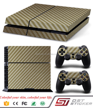 Golden Carbon Fiber Sticker Games For PS4 Skins For Playstation 4 Game Console Sticker
