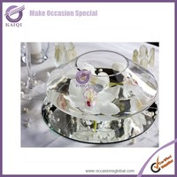 k5581 wedding party clear unique beveled mirrored center plates