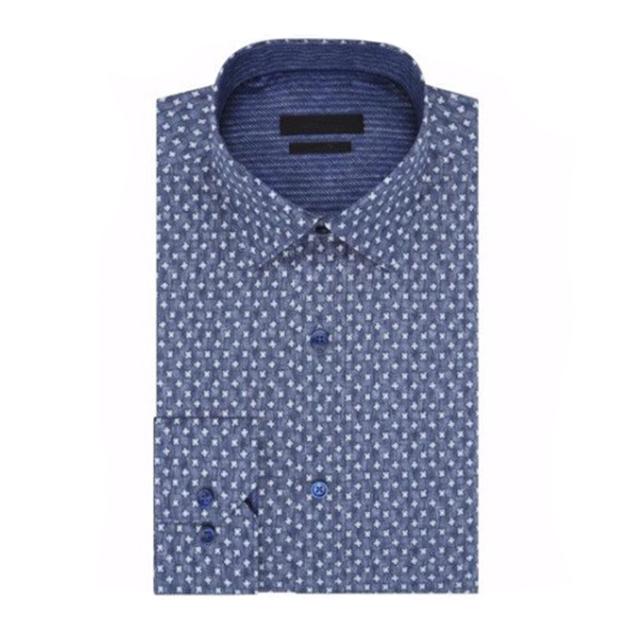 steel print men long sleeve button down shirt