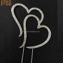 Diamante Rhinestone Love Double Heart Cake Toppers Wedding Wholesale