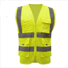 Mesh High Visibility Green Zipper Front Safety Vest with Strips Medium