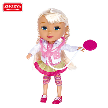 Zhorya best selling plastic pink 12 inch doctor doll with stethoscope toy