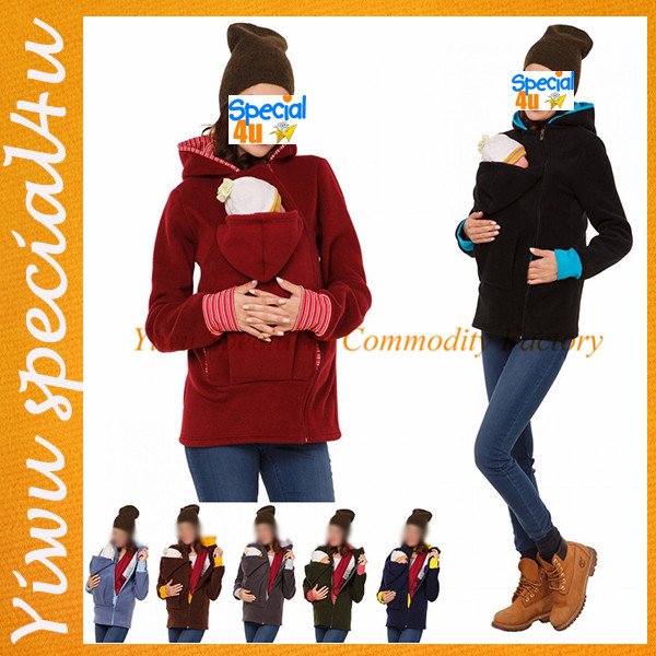 HJ-561 New style multifunctional Kangaroo coat hoodie long sleeve warm baby carrying hoodies