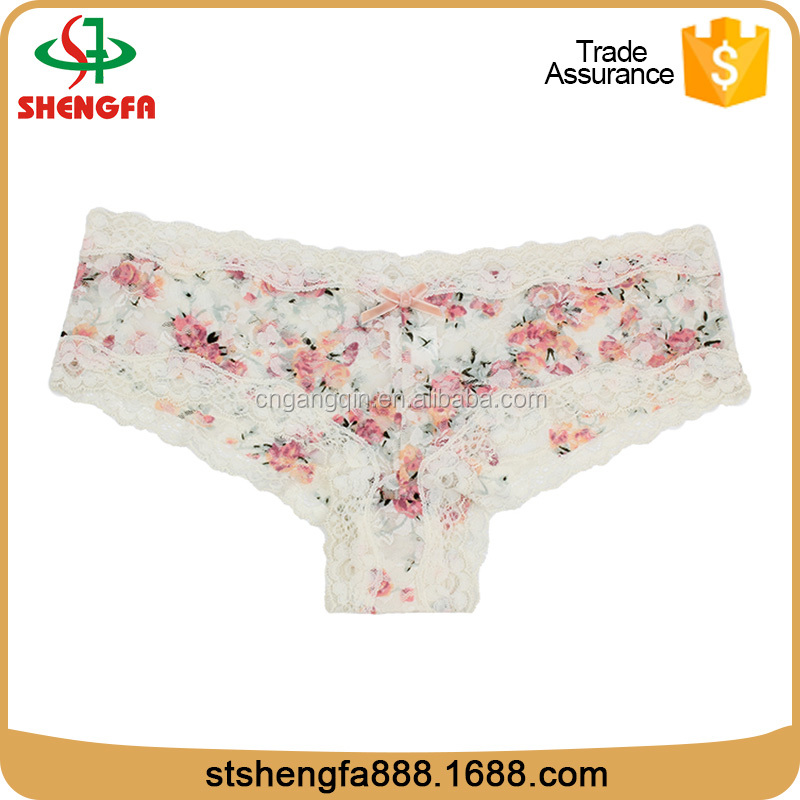 all-over white printing black lady panty models sexy white lace panties