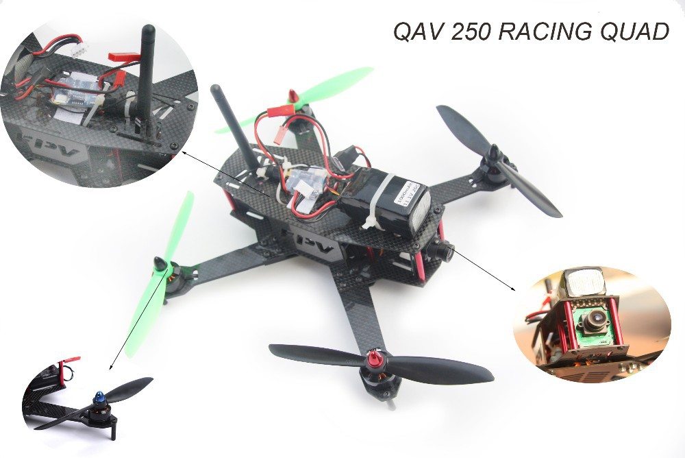 QAV 250 Carbon Fiber Frame for racing quadcopter CC3D flight controller Board 1806 2280KV Motor 12A Brushless Esc for QAV 250