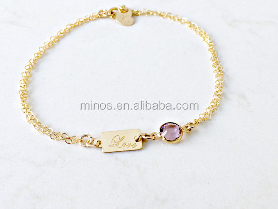 14k gold jewelry Personalized Birthstone Bracelet with heart tag engraved love chain bracelets