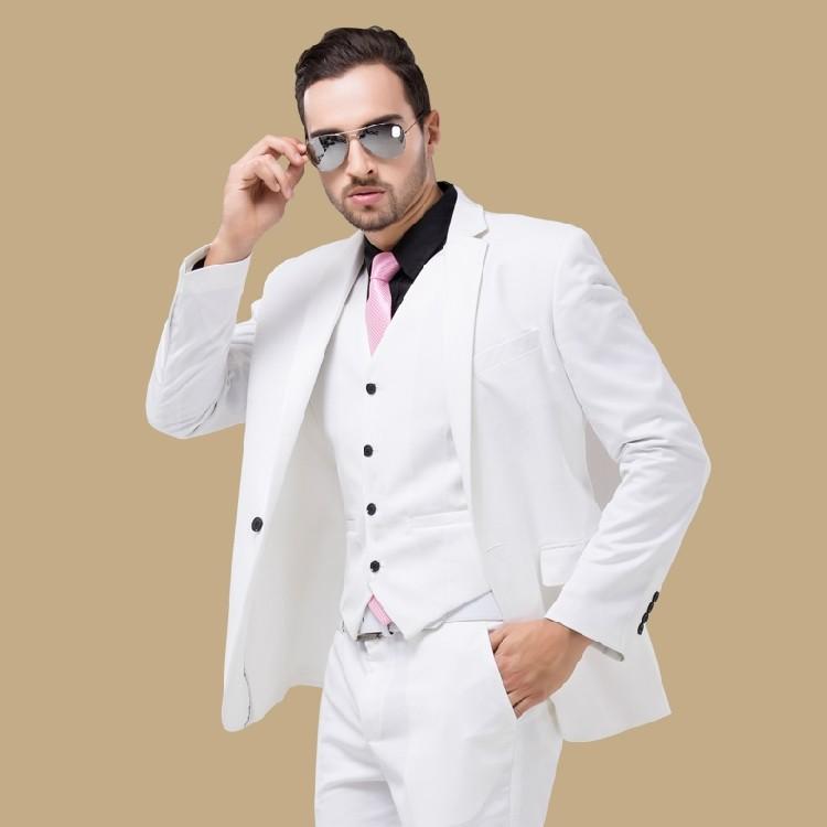 Fashion Man Blazers Groom Wedding Dress Men White Suit