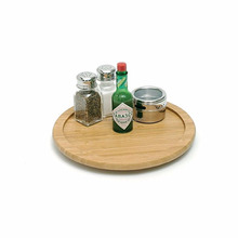Eco-friendly round bamboo food revolving serving tray with wheels