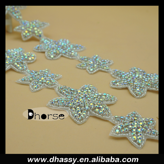 Wholesale fashion accessory ab stone crystal rhinestone applique trim beaded applique belt