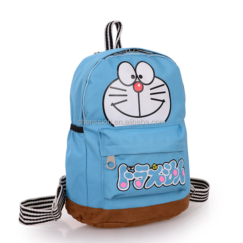 Lovely doraemon cartoon canvas schoolbag backpack for kids