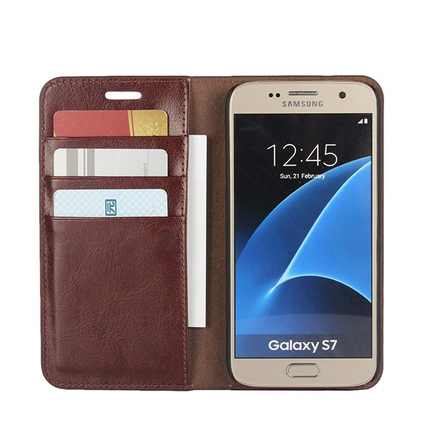 Manufacturer Wallet Cover For Samsung Galaxy S7 Leather Case With Credit Card Slot